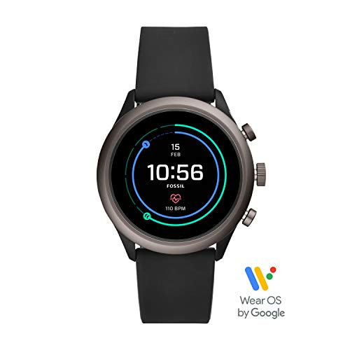 Fossil Men's Gen 4 Sport Heart Rate Metal and Silicone Touchscreen Smartwatch, Color: Grey, Black (FTW4019)]()