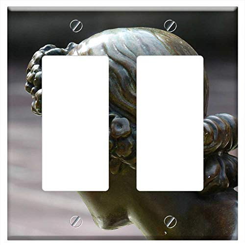 Switch Plate Double Rocker/GFCI - Hair Wreath Figure Head Statue Bronze Girl