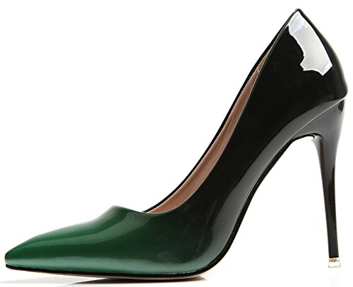 BIGTREE Pointed Toe Court Shoes Women High Heels Dress Pumps Court Shoes Gradients Stiletto Shoes Green TcYOO0KO