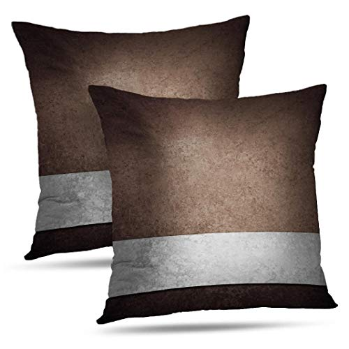 WAYATO Set of 2 Pillow Case Cotton Polyester Blend Throw Pillow Covers Black Brown Grey Look Bed Home Decor Cushion Cover 18X18 Inch (Home Decor And Brown Grey)