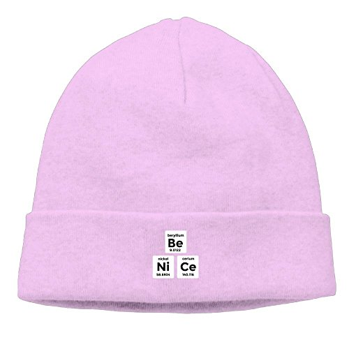 Hhayue Unisex Be Nice Funny Nerd Science Chemistry Elements Youth Cool Hedging Hat Wool Beanie Skull Cap Headwear