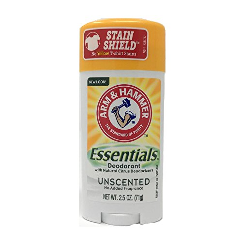 Essential Deodorant - Arm & Hammer Essentials Natural Deodorant Solid, Unscented, 2.5 Ounce (Pack of 3)