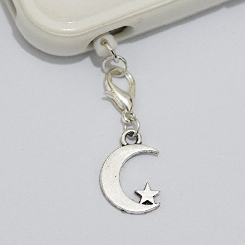Silver Moon Star Cell Phone Charm, Moon Star Dust Plug-3.5mm, Unique Cell Phone Charm, Headphone Jack Charm ,Silver Phone Charm Dust Plug,charm Dust Plug for Iphone 3,iphone4,iphone 4s ,Iphone 5,iphone 5s,iphone 6, Samsung S3,samsung S4, Samsung S5 ,Note 2,note 3, Ipad 2,ipad 3,ipad 4,ipad 5 Nokia,htc One M7, Ipad Mini Dust Plug (Headphone Jack Charms Iphone6 compare prices)