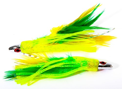 Boone Feather Trolling Jig (Pack of 2), Green/Yellow, 4-Inch