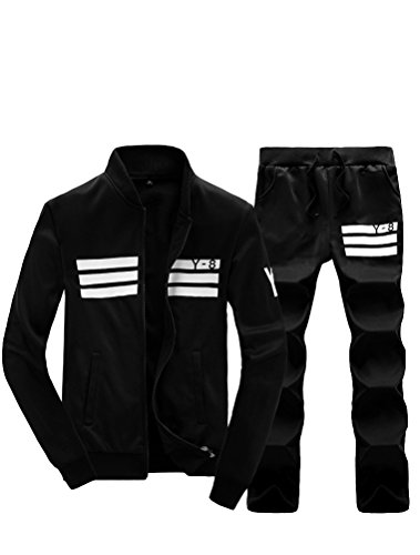 Lavnis Men's Casual Tracksuit Long Sleeve Running Jogging Athletic Sports Set Black L (Track Outfits)