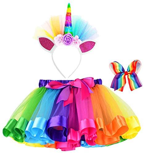 Jasmine Girls 3 Pieces Layered Rainbow Tutu Skirt,Unicorn Headband & Hair Bow for Dress up Costume -