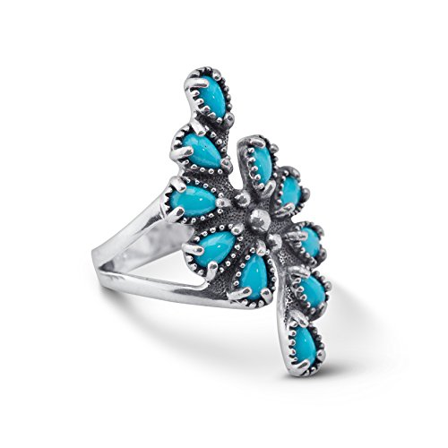 Sterling Silver Sleeping Beauty Turquoise Spiral Ring - Size 10 ()