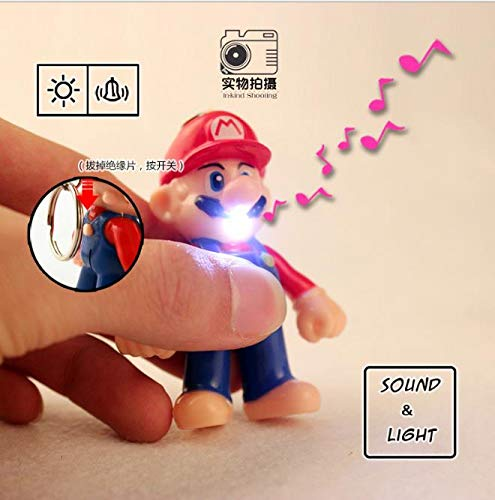 PampasSK Action & Toy Figures - Super Mario PVC Keychain Children Figures Action Toy Doll Light LED Key Ring Car PendantsKey Ring Holder 1 PCs