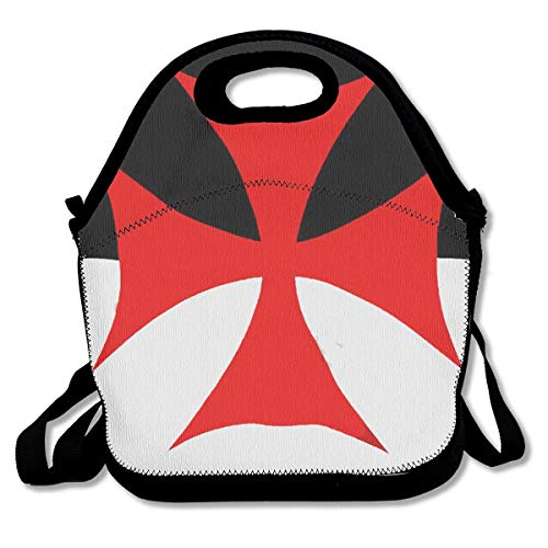 Square Flag Battle (Knights Templar Battle Flag Insulated Neoprene Lunch Bag - Removable Shoulder Strap-Reusable Thermal Thick Lunch Tote/Lunch Box/Cooler Bag For Women,Teens,Girls,Kids,Baby,Adults)