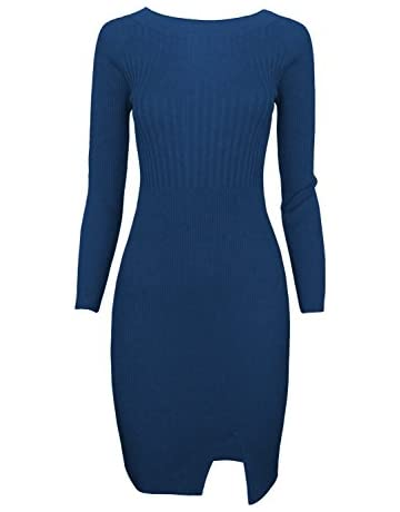 1af4dd982ec TAM WARE Women Stylish Slim Fit Knit Sweater Boat Neck Bodycon Dress