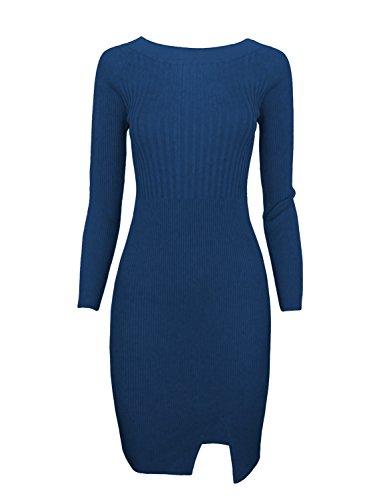 Tom's Ware Women Stylish Slim Fit Knit Sweater Boat Neck Bodycon Dress TWCWD078-DBLUE-US M