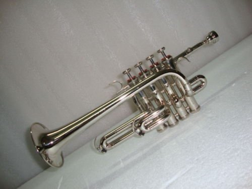 BRAND NEW SILVER Bb/A PICCOLO TRUMPET WITH FREE CASE+MOUTHPIECE by SAI MUSICAL