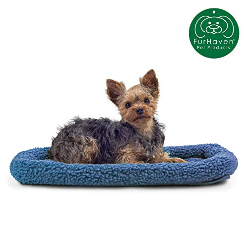 Furhaven Pet Dog Bed Kennel Pad | Faux Lambswool & Sherpa Crate or Kennel Mat Bolster Pet Bed for Dogs & Cats, Blue, Extra Small