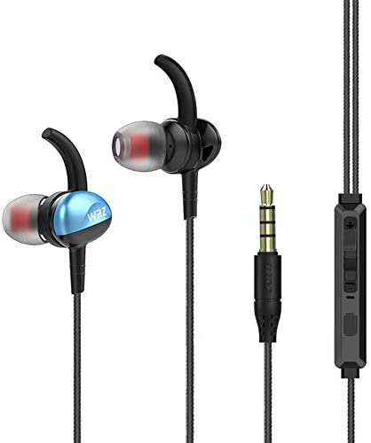 WEZ in Ear Headphones Wired Earphones Noise Isolation Earbuds Stereo Bass Headsets with Microphone Volume Control for Sports Running Gym Exercise Jogging Workout Blue