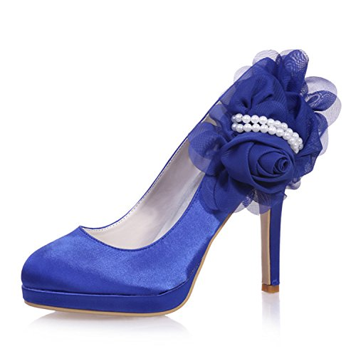 Clearbridal ZXF6915 Women's 07 Satin Round for Toe Prom Bridal Wedding Royalblue Shoes Shoes 44r6vxpw