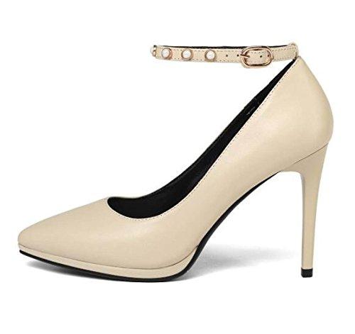 Platform Pointed Toe Court Shoes Ladies Beige Women Heel Wedding High Evening Buckle Pumps wCIZUq