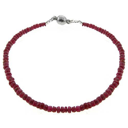 Gem Stone King 25.00 Ct 8inches Ruby Beads Bracelet with Silver Magnetic Clasp