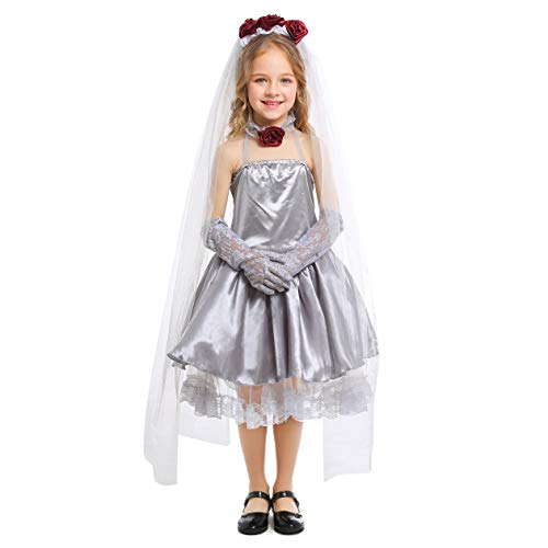 LOLANTA Kids Girl's Gothic Bride Costume Halloween Fancy Dress (4-6) Grey]()