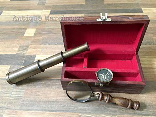 (Antique House Solid Brass Telescope Brass maginifier Brass Compass Set of 3 Nautical Best Gifts Nautical Instruments Handmade Birthday Gift)