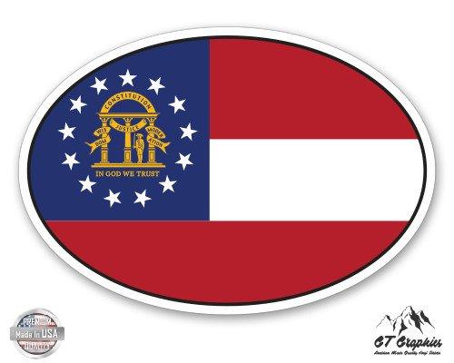 Georgia Flag Stickers (Georgia State Flag Oval - 3