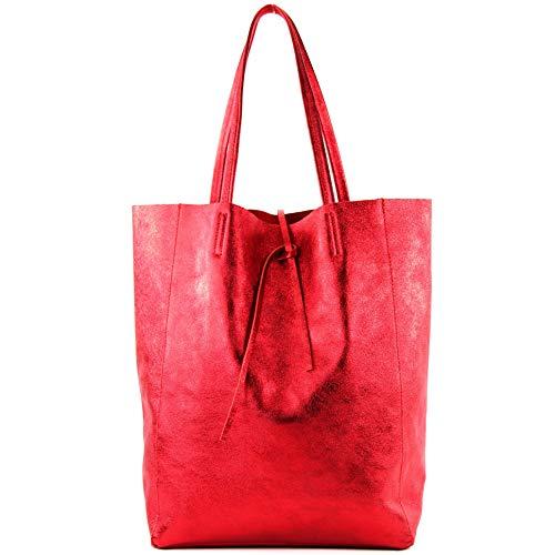 Sac en cuir pour femme, grand sac à bandoulière T163, Couleur: anthracite métallisé Pourriture métallisée