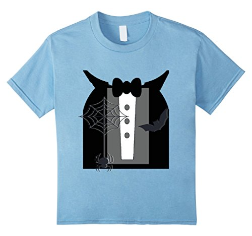 Kids Halloween Tux And Cape Novelty Tshirt 8 Baby (Baby Blue Tux)