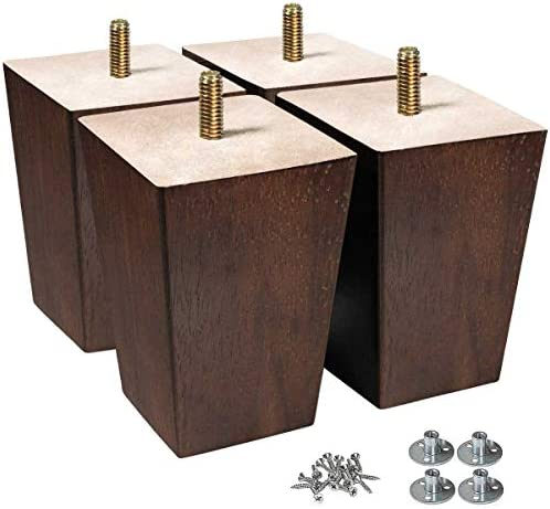 AORYVIC Wood Legs for Furniture 4 inch Sofa Legs Square Bed Legs Pack of four
