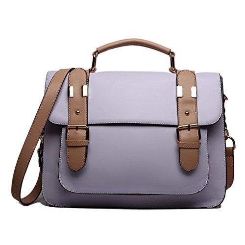 Miss Lulu marca Vintage funda lunares piel sintética bolsa de trabajo maletín Satchel Mochila Escolar (Gris) 1521 Purple