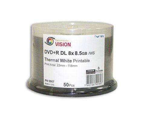 Premium Quality Dual Layer DVDs - DVD+R Falcon Vision White 2P Thermal Hub Printable 8x 8.5GB 50 Disc Cakebox Blank DVDs by Disc Makers