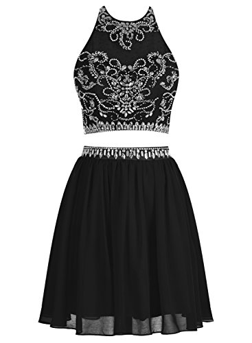 Bbonlinedress 2016 Vestido De Fiesta Corto Halter Dos Piezas De Gasa Con Cuentas Negro