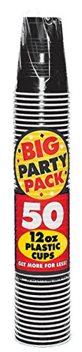 Big Party Pack Jet Black Plastic Cups | 12 oz. | Pack of 50 | Party Supply
