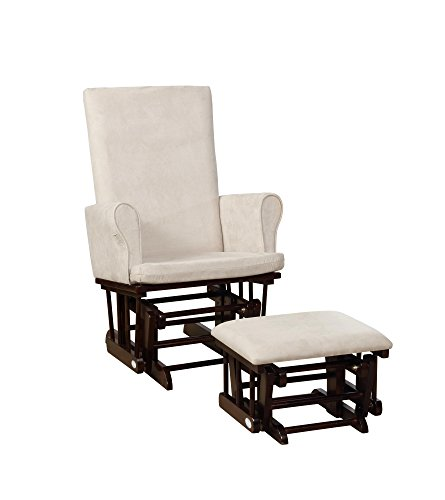 (Naomi Home Mateo Wood & Upholstered Glider and Ottoman Set Espresso/Cream)