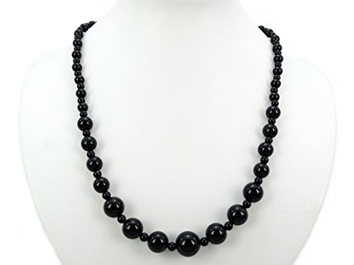 Onyx 18' Bead Necklace (jennysun2010 Handmade Natural Black Onyx Gemstone Beads 4~12mm Graduated Adjustable Necklace Healing (18'' Adjustable up to 30''))