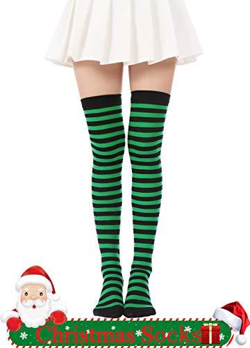 Jasmino Women's Colorful Long Striped Over The Knee High Stocking Socks (Green Black) ()