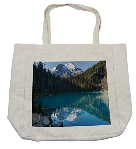 Ambesonne Landscape Shopping Bag, Lake in Northern Canada with Slim Trees and Snowy Frozen Mountain Novelty, Eco-Friendly Reusable Bag for Groceries Beach Travel School & More, Cream -