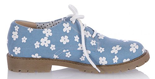 Sfnld Womens Sweet Round Toe Low Cut Floral Lace Up Low Chunky Heel Loafers Shoes Light Blue WDZAbuMT