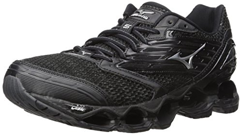 Mizuno Men's Wave Prophecy 5 Running Shoe, Black/Silver/Dark Shadow, 10 D US