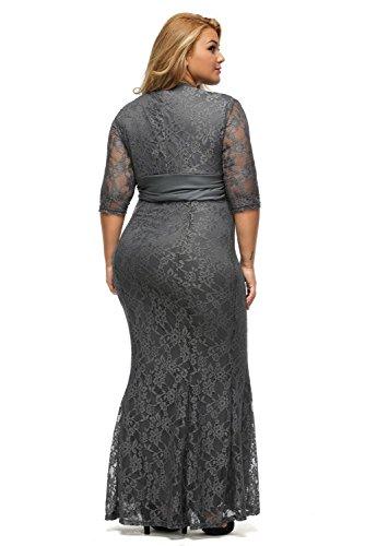 aa032e1659b15 ... 3 4 Sleeve Plus Size Lace Wedding Cocktail Dress size 1X (Grey).   