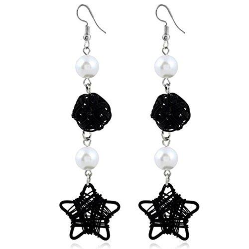 2018 Earrings,WaiiMak Women Vintage Style Star Earrings Rhinestones Crystal Tassel Dangle Stud Earrings Fashion Jewelry (Crystal Star Dangle Earrings)