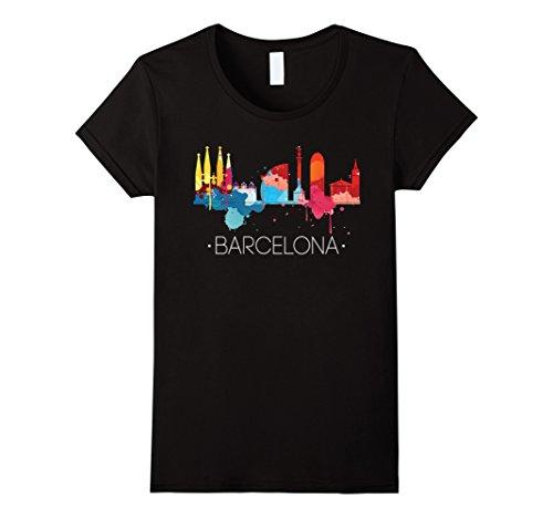 Womens Barcelona Shirt: Watercolor City Skyline Spain T-Shirt XL Black - Barcelona Graphic T-shirt