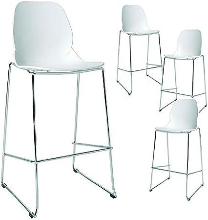 Kasalinea Chaise Haute De Bar Design Blanche Sugar 2 Lot De 4