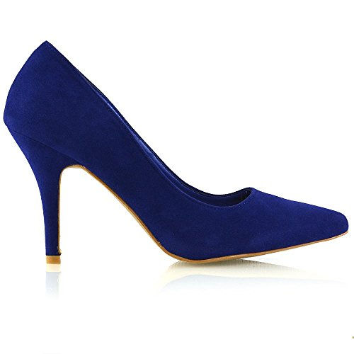 ESSEX GLAM Womens Stiletto Mid Heels Pointed Toe Ladies Party Office Court Shoes Pumps 3-9 Navy Faux Suede Dsw6j
