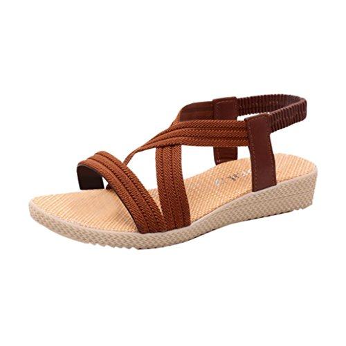 Transer Ladies Leisure Flat Sandals- Women Summer Roman Sandals Comfy Shoes Casual Brown