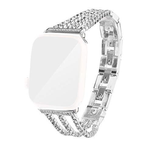 Cywulin Compatible for Apple Watch Band Bracelet Bangle 38mm 42mm 40mm 44mm, Stainless Steel Wristband Strap Luxury Jewelry Diamond Replacement for iWatch Series 4 3 2 1 Girl Women (42mm/44mm, Silver)