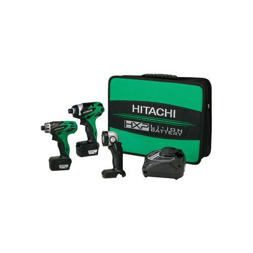 Hitachi KC10DAL 10.8 Volt Li Ion 3-Tool Combo Kit Includes Drill/Driver, Impact Driver and Flashlight  (Discontinued by Manufacturer)