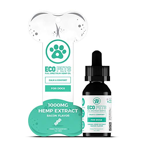 Eco Natural Dog - ECO PETS Hemp Extract 1000+mg Full Spectrum Hemp Extract for Dogs Calm Comfort Anxiety Joint Pain Relief Natural Non-GMO Vegan Gluten Free Vitamin E Omega-3 Omega-6