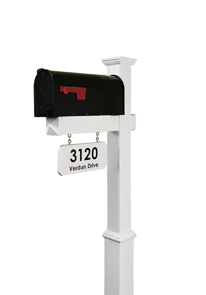 4Ever Products The Amelia Vinyl Mailbox Post System - Includes Steel Mailbox and Custom Street Address (Black Mailbox) by 4Ever Products
