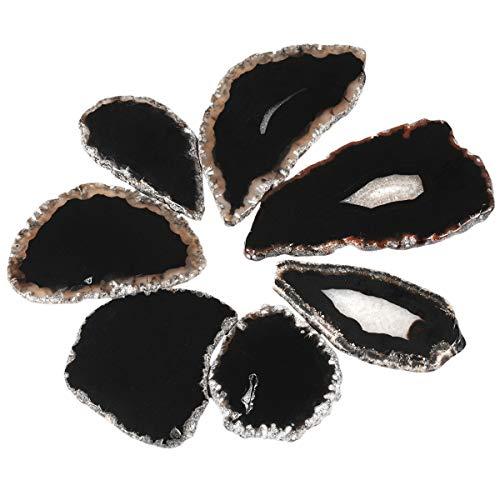 (SUNYIK Black Agate Slice Set, Geode Druzy Stone Slab Wholesale, 1