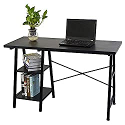 Lovinland Wooden Computer Desk with Shelf Concise Office Desk Furniture for Home Office Black