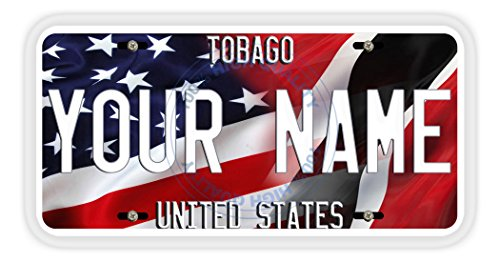 (BleuReign(TM) Personalized Mixed USA and Trinidad and Tobago Flag Car Vehicle License Plate Auto Tag)